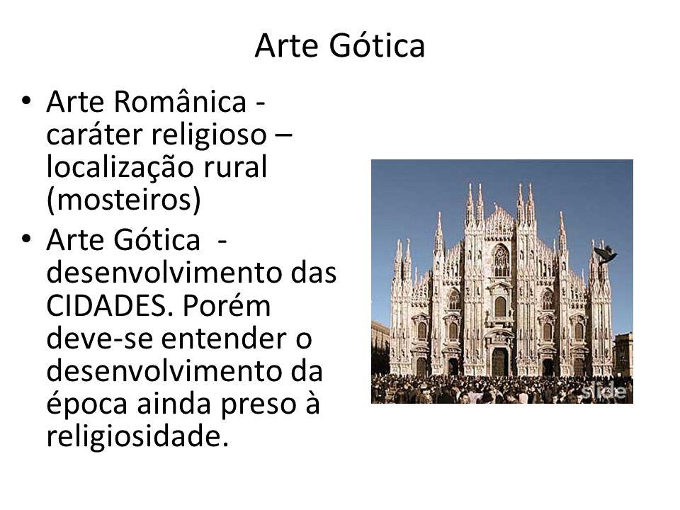 Arte Gótica Arte Românica - caráter religioso – localização rural (mosteiros)