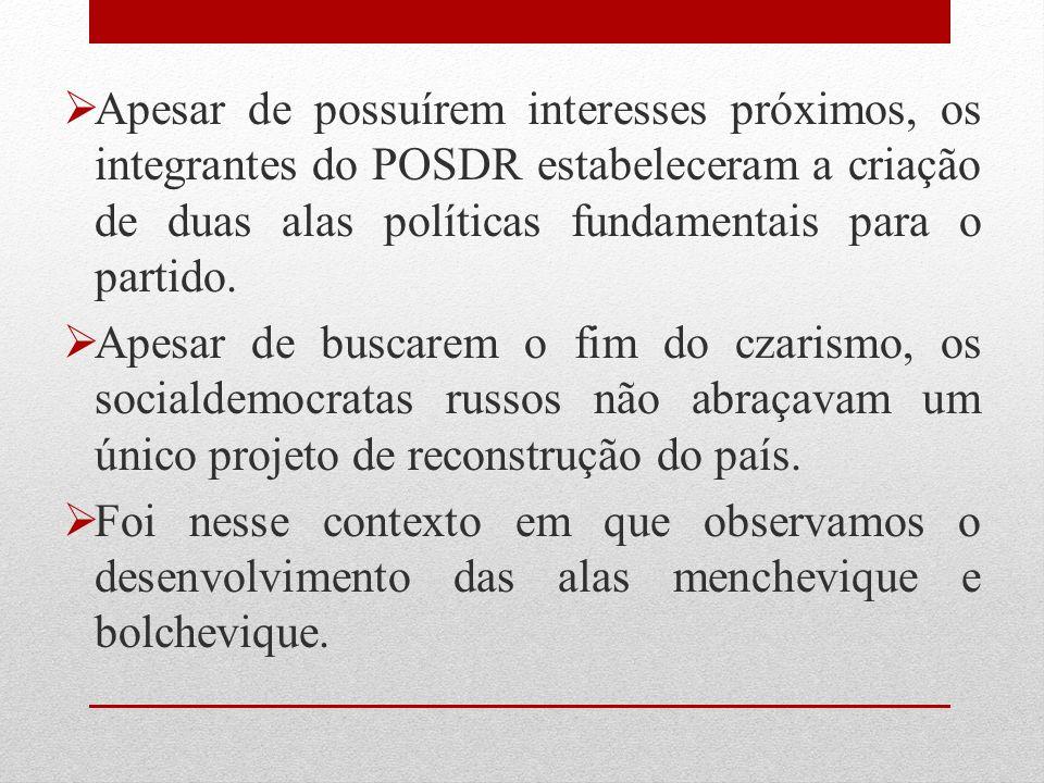 Apesar de possuírem interesses próximos, os integrantes do POSDR estabeleceram a criação de duas alas políticas fundamentais para o partido.