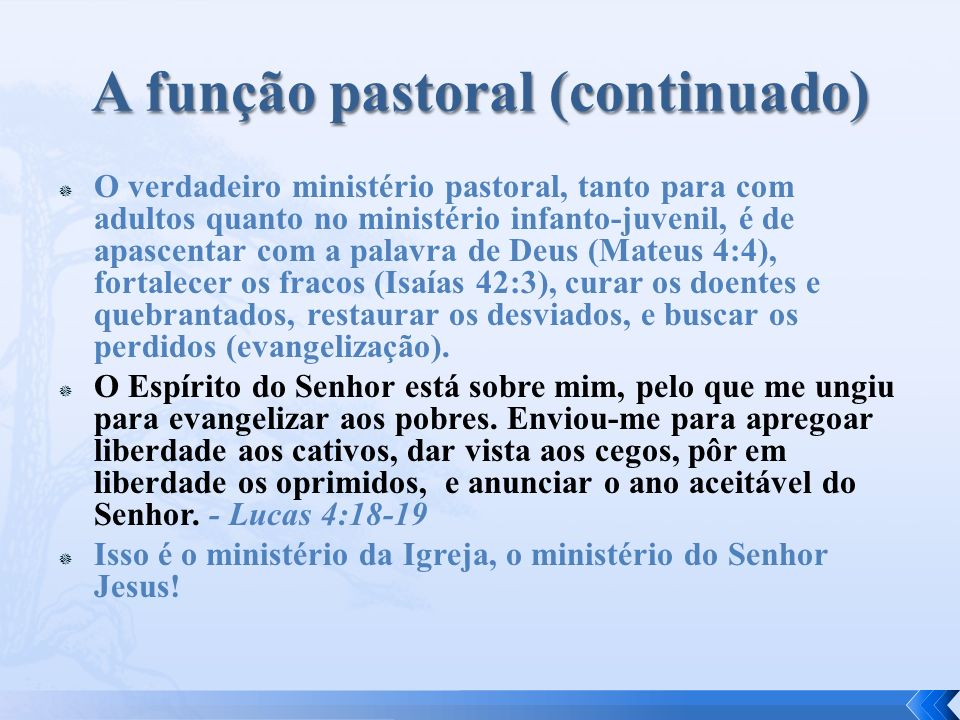 A função pastoral (continuado)