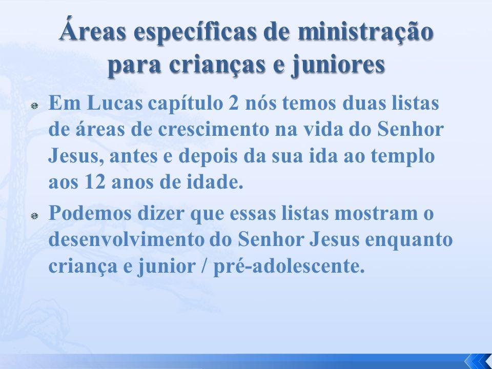 Áreas específicas de ministração para crianças e juniores