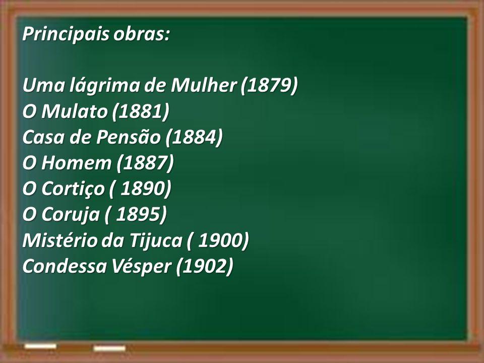 Principais obras: Uma lágrima de Mulher (1879) O Mulato (1881) Casa de Pensão (1884) O Homem (1887)