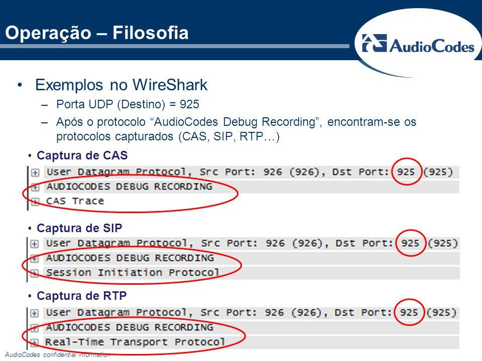 Operação – Filosofia Exemplos no WireShark Porta UDP (Destino) = 925