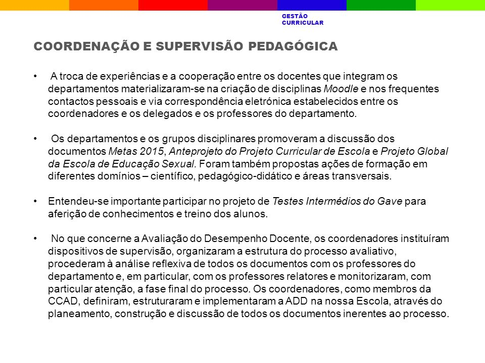 COORDENAÇÃO E SUPERVISÃO PEDAGÓGICA