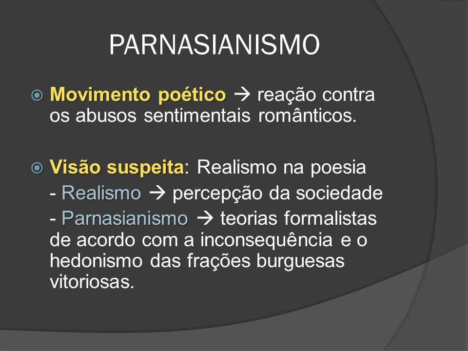 PARNASIANISMO Movimento poético  reação contra os abusos sentimentais românticos. Visão suspeita: Realismo na poesia.