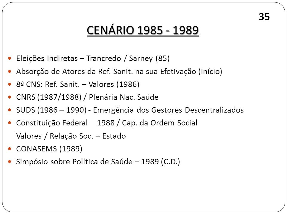 CENÁRIO 1985 - 1989 35 Eleições Indiretas – Trancredo / Sarney (85)