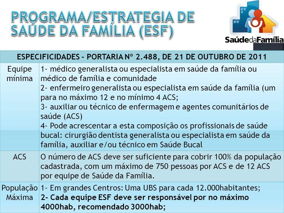 ESPECIFICIDADES - PORTARIA Nº 2.488, DE 21 DE OUTUBRO DE 2011