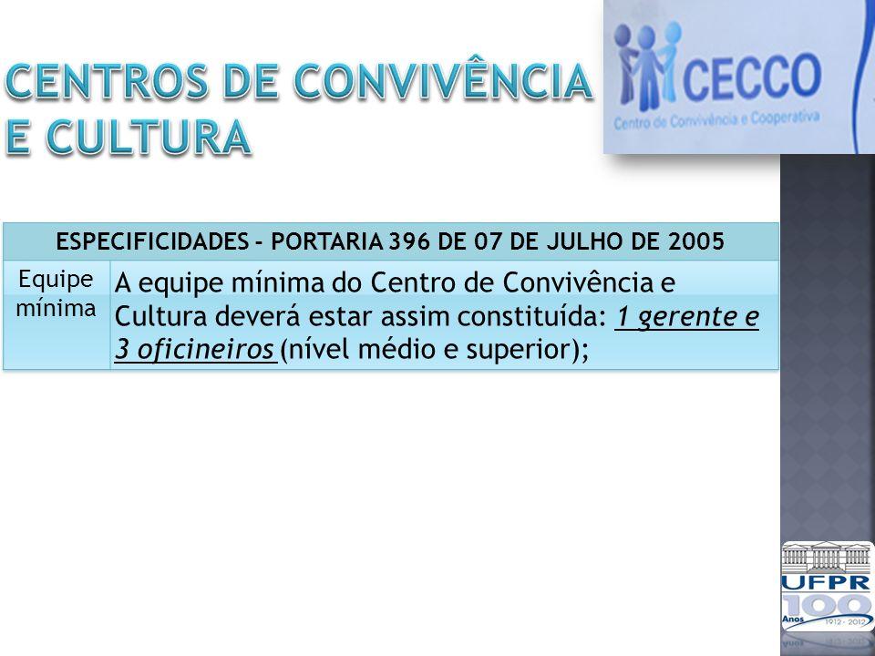 CENTROS DE CONVIVÊNCIA E CULTURA