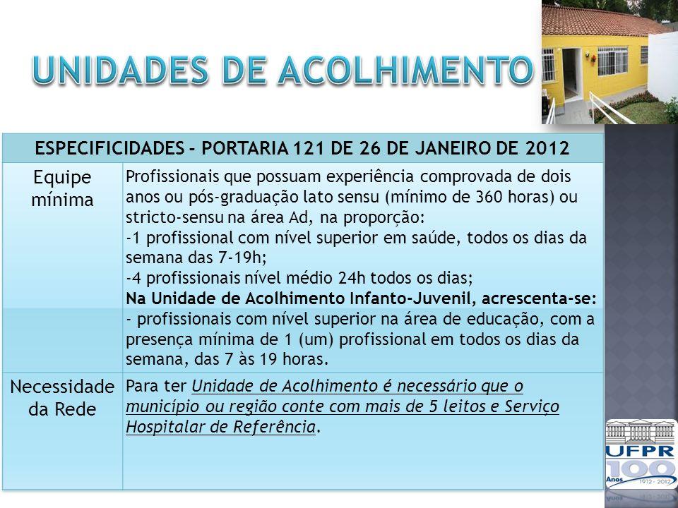 ESPECIFICIDADES - PORTARIA 121 DE 26 DE JANEIRO DE 2012