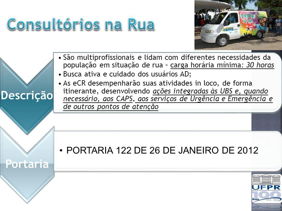 Consultórios na Rua PORTARIA 122 DE 26 DE JANEIRO DE 2012