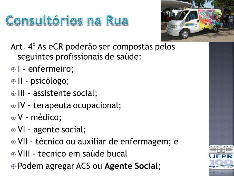 Consultórios na Rua Art. 4º As eCR poderão ser compostas pelos seguintes profissionais de saúde: I - enfermeiro;