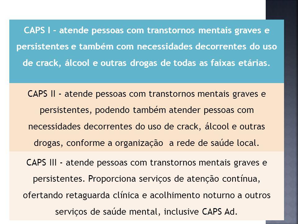 CAPS I - atende pessoas com transtornos mentais graves e persistentes e também com necessidades decorrentes do uso de crack, álcool e outras drogas de todas as faixas etárias.