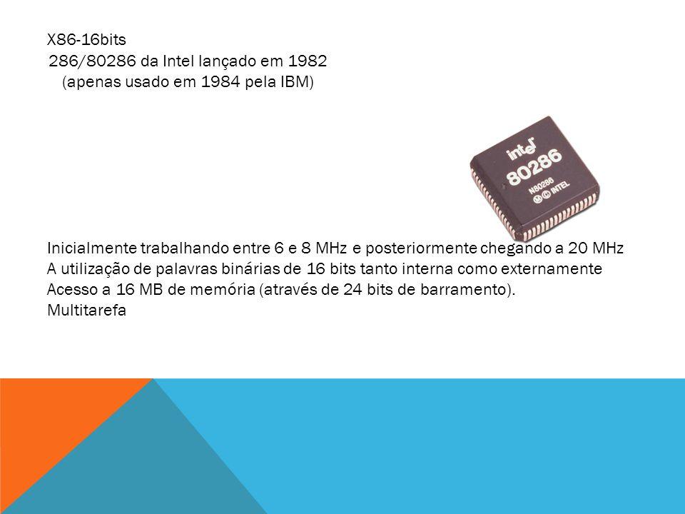 286/80286 da Intel lançado em 1982 (apenas usado em 1984 pela IBM)
