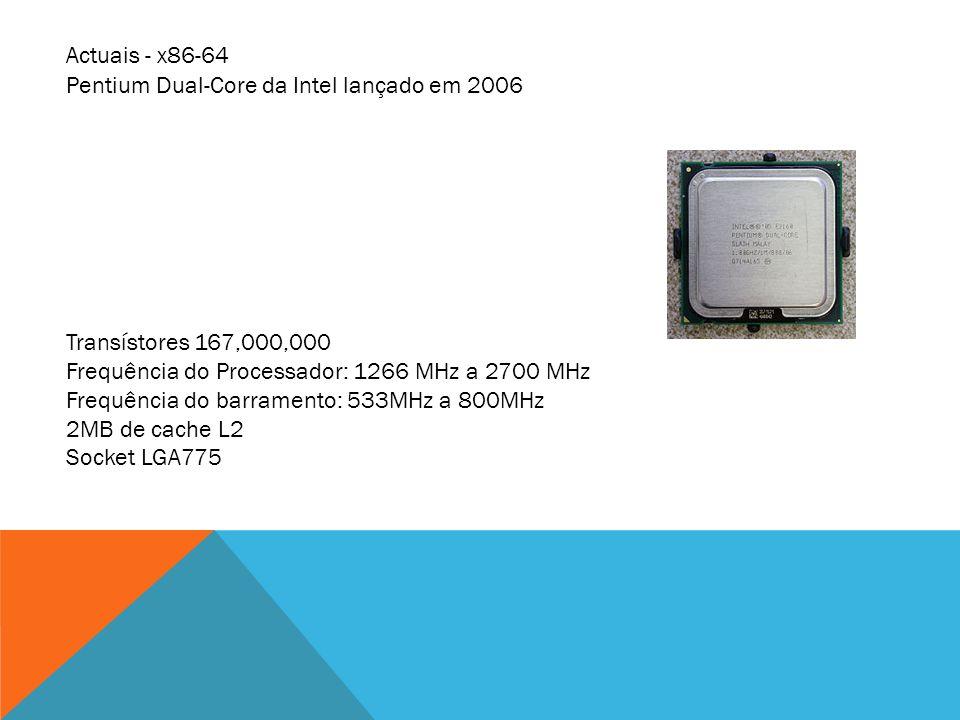 Actuais - x86-64 Pentium Dual-Core da Intel lançado em 2006. Transístores 167,000,000. Frequência do Processador: 1266 MHz a 2700 MHz.