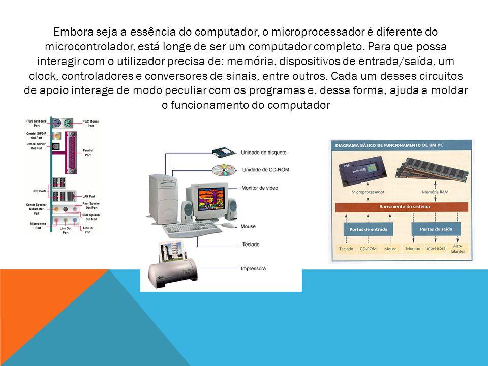 Embora seja a essência do computador, o microprocessador é diferente do microcontrolador, está longe de ser um computador completo.