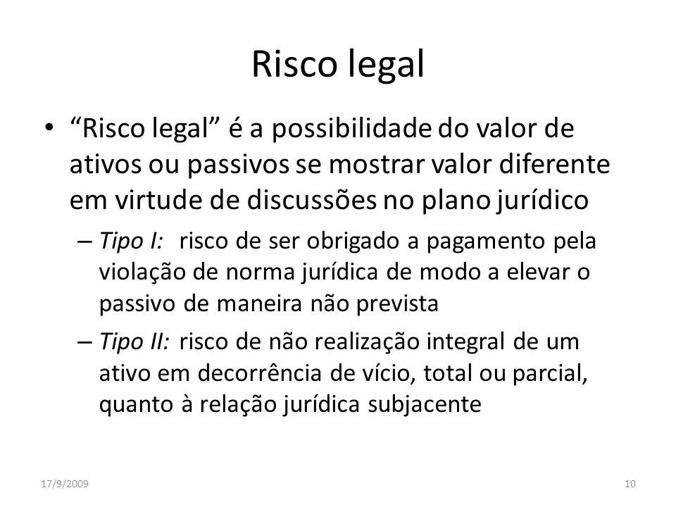 Risco legal Risco legal é a possibilidade do valor de ativos ou passivos se mostrar valor diferente em virtude de discussões no plano jurídico.