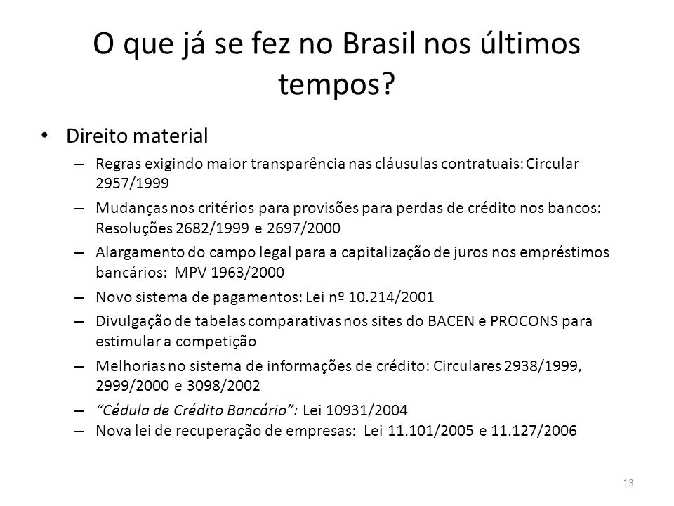 O que já se fez no Brasil nos últimos tempos