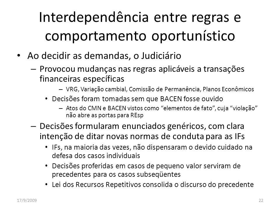 Interdependência entre regras e comportamento oportunístico
