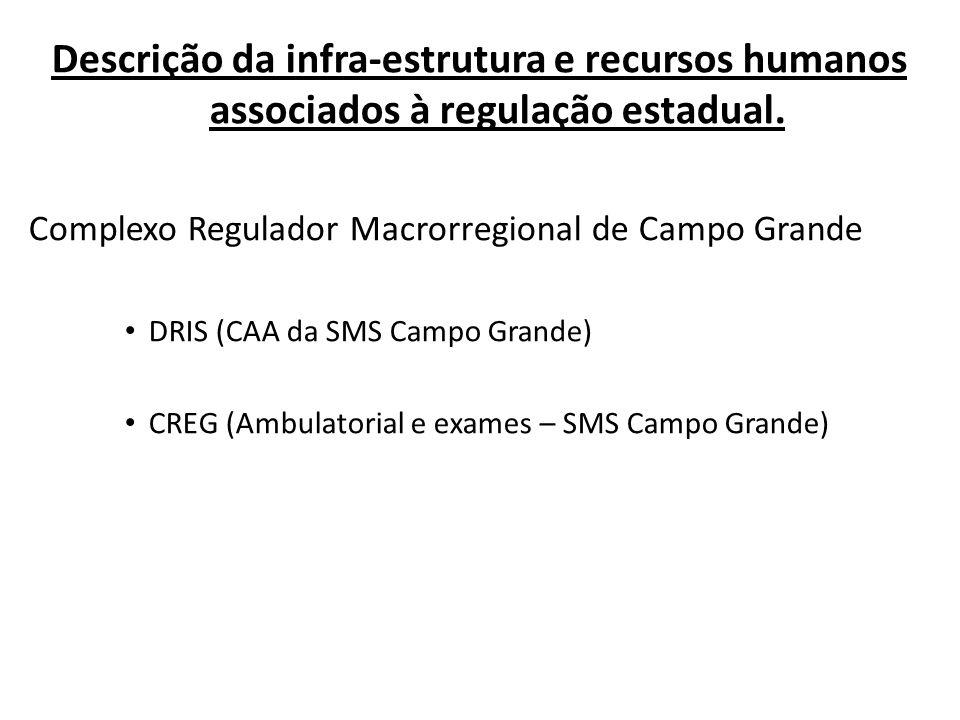 Descrição da infra-estrutura e recursos humanos associados à regulação estadual.