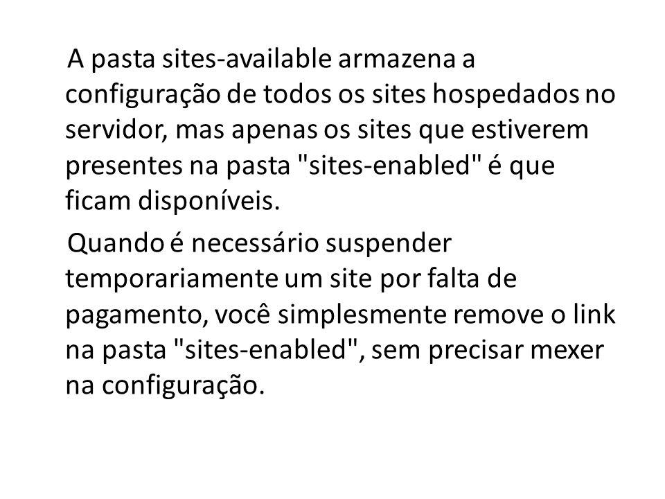 A pasta sites-available armazena a configuração de todos os sites hospedados no servidor, mas apenas os sites que estiverem presentes na pasta sites-enabled é que ficam disponíveis.