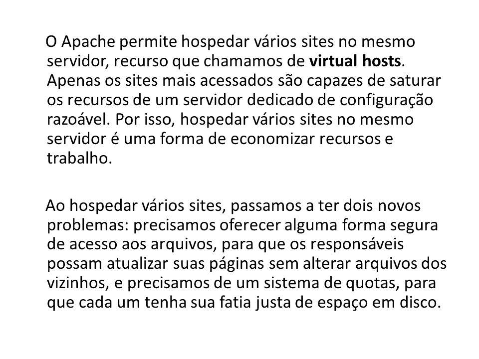 O Apache permite hospedar vários sites no mesmo servidor, recurso que chamamos de virtual hosts.