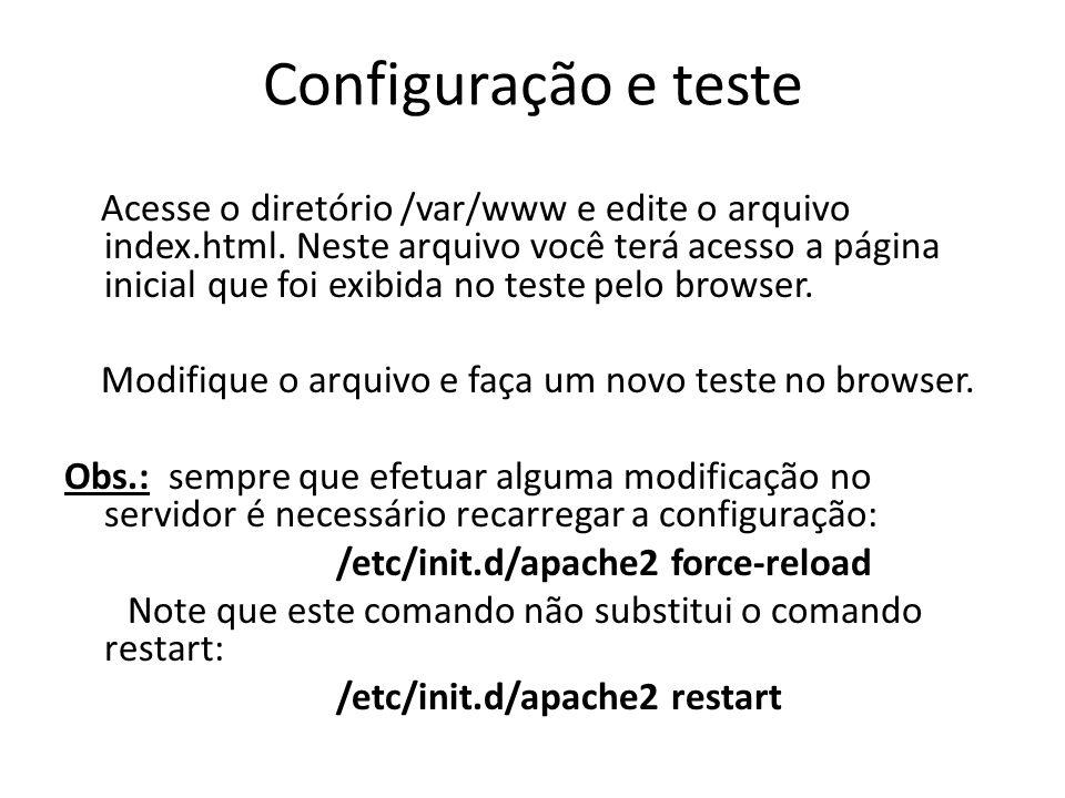 Configuração e teste