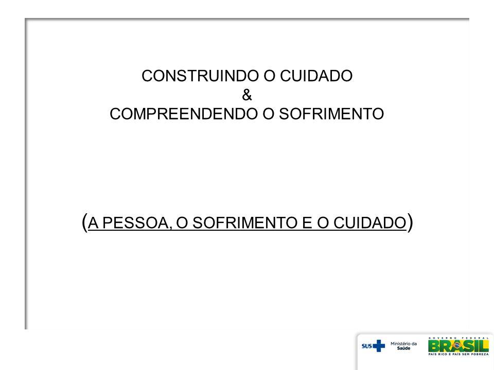 CONSTRUINDO O CUIDADO & COMPREENDENDO O SOFRIMENTO (A PESSOA, O SOFRIMENTO E O CUIDADO)