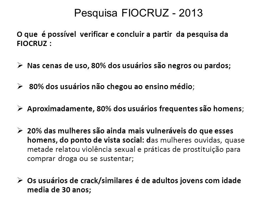 Pesquisa FIOCRUZ - 2013 O que é possível verificar e concluir a partir da pesquisa da FIOCRUZ :