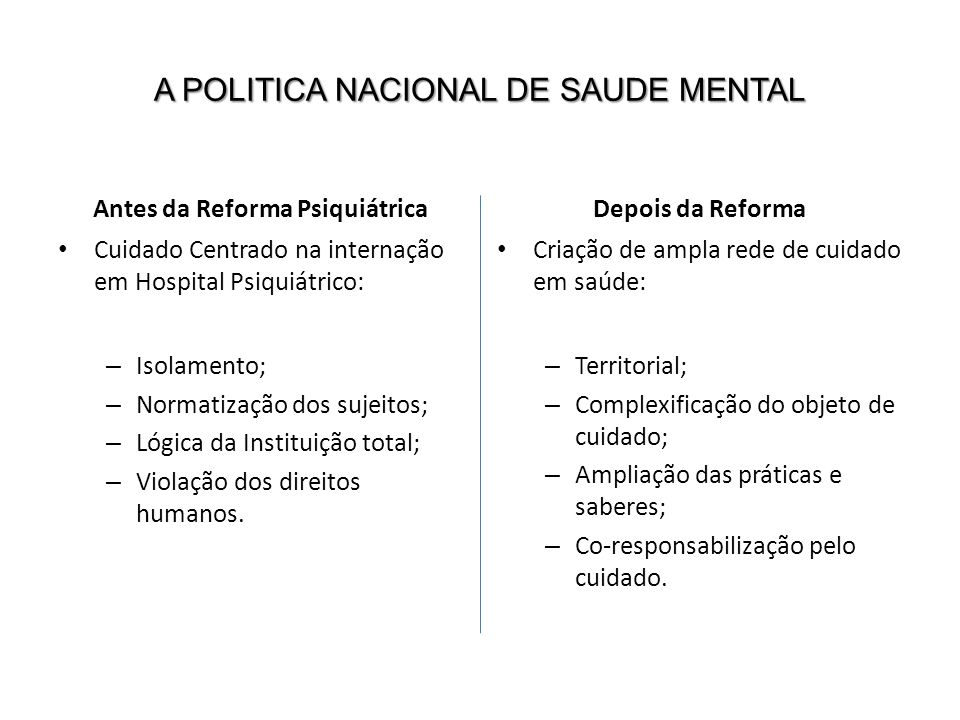 A POLITICA NACIONAL DE SAUDE MENTAL
