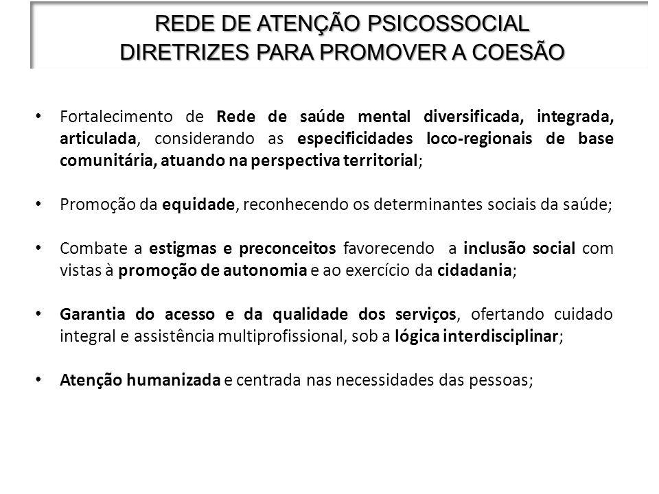 REDE DE ATENÇÃO PSICOSSOCIAL DIRETRIZES PARA PROMOVER A COESÃO