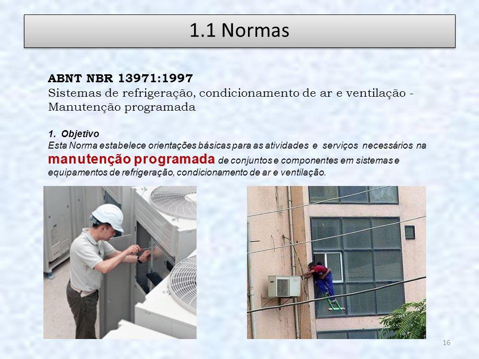 1.1 Normas ABNT NBR 13971:1997. Sistemas de refrigeração, condicionamento de ar e ventilação - Manutenção programada.