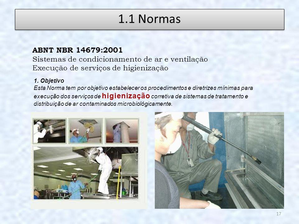 1.1 Normas ABNT NBR 14679:2001. Sistemas de condicionamento de ar e ventilação. Execução de serviços de higienização.