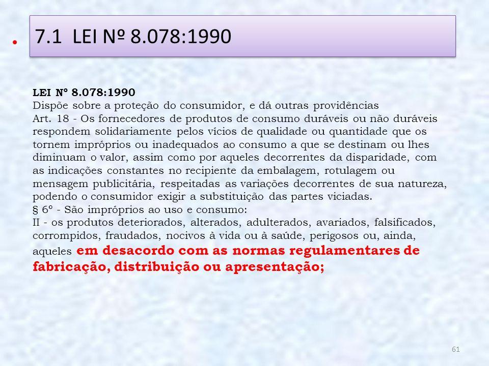 7.1 LEI Nº 8.078:1990 LEI Nº 8.078:1990. Dispõe sobre a proteção do consumidor, e dá outras providências.