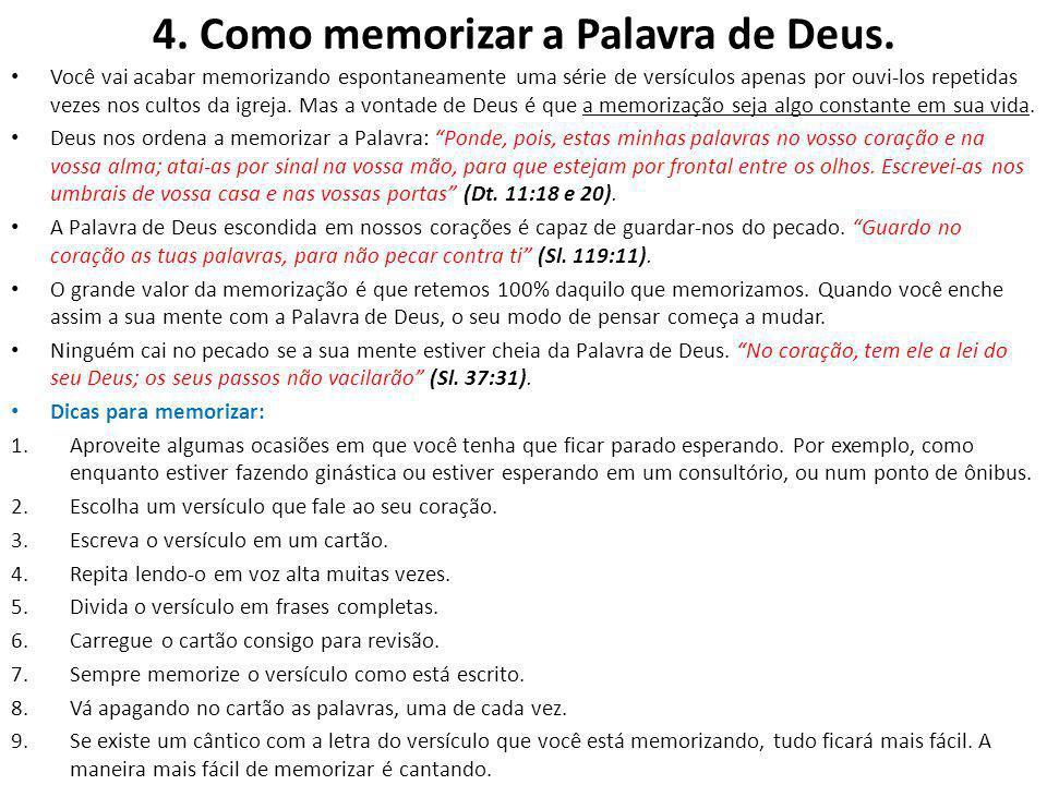 4. Como memorizar a Palavra de Deus.