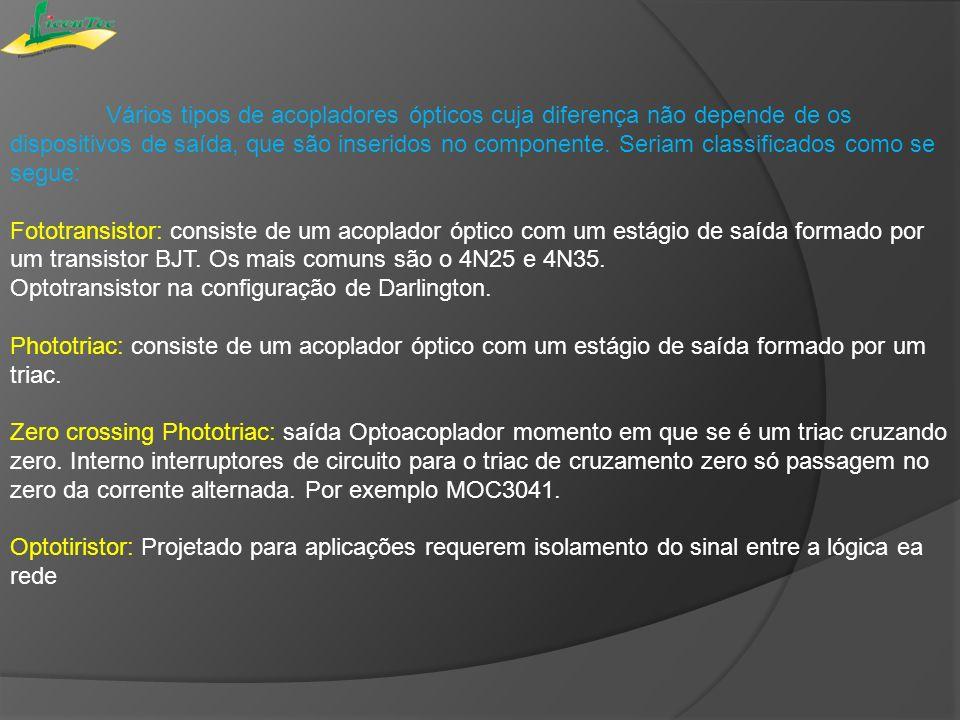 Vários tipos de acopladores ópticos cuja diferença não depende de os dispositivos de saída, que são inseridos no componente. Seriam classificados como se segue: