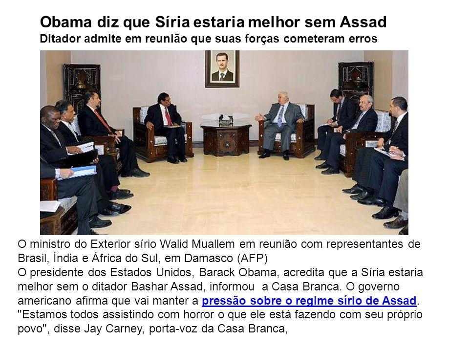 Obama diz que Síria estaria melhor sem Assad