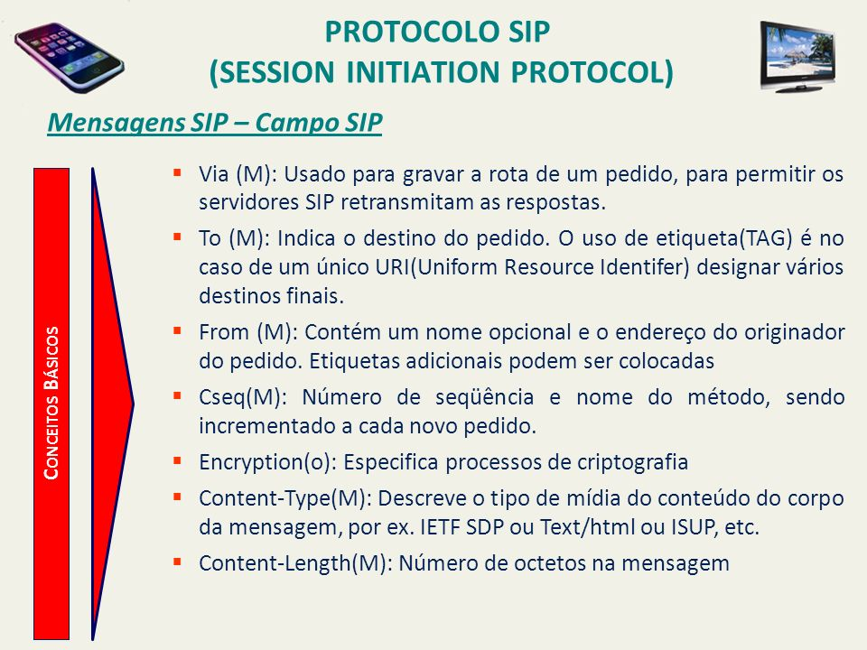 (session Initiation Protocol) Mensagens SIP – Campo SIP