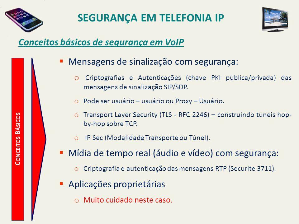 SEGURANÇA EM TELEFONIA IP Conceitos básicos de segurança em VoIP