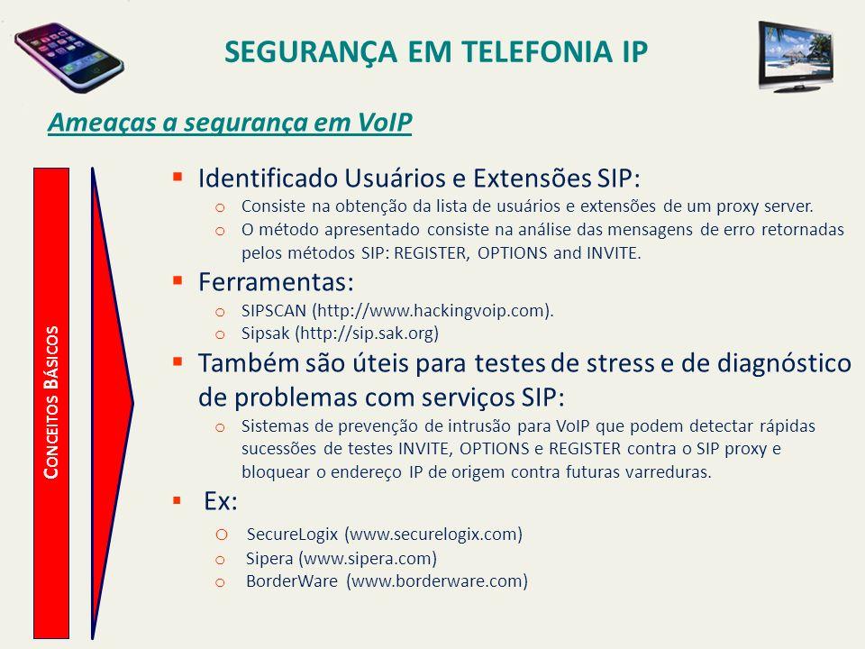SEGURANÇA EM TELEFONIA IP Ameaças a segurança em VoIP
