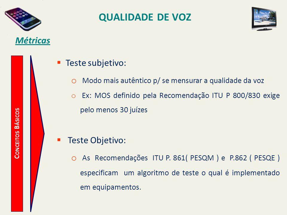QUALIDADE DE VOZ Métricas Teste subjetivo: