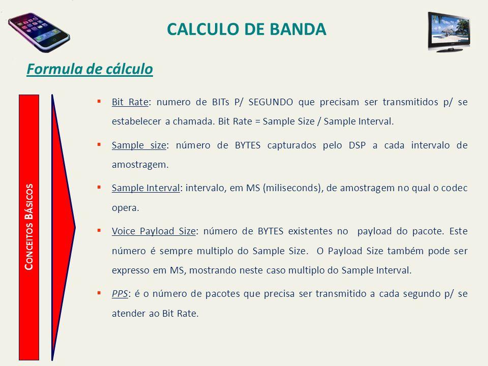 CALCULO DE BANDA Formula de cálculo Conceitos Básicos