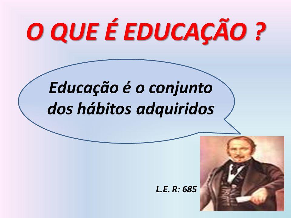 Educação é o conjunto dos hábitos adquiridos