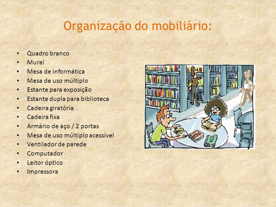 Organização do mobiliário: