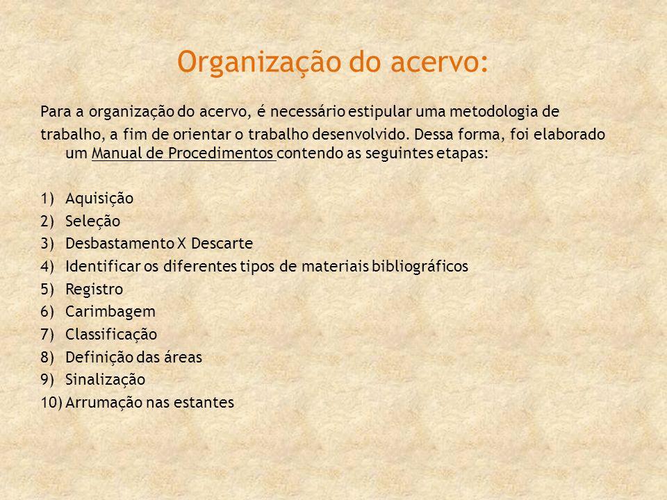 Organização do acervo: