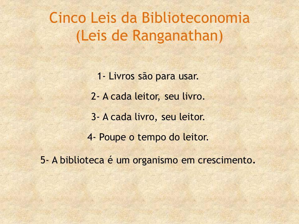 Cinco Leis da Biblioteconomia (Leis de Ranganathan)