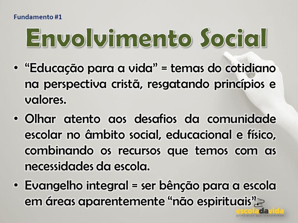 Fundamento #1 Envolvimento Social. Educação para a vida = temas do cotidiano na perspectiva cristã, resgatando princípios e valores.