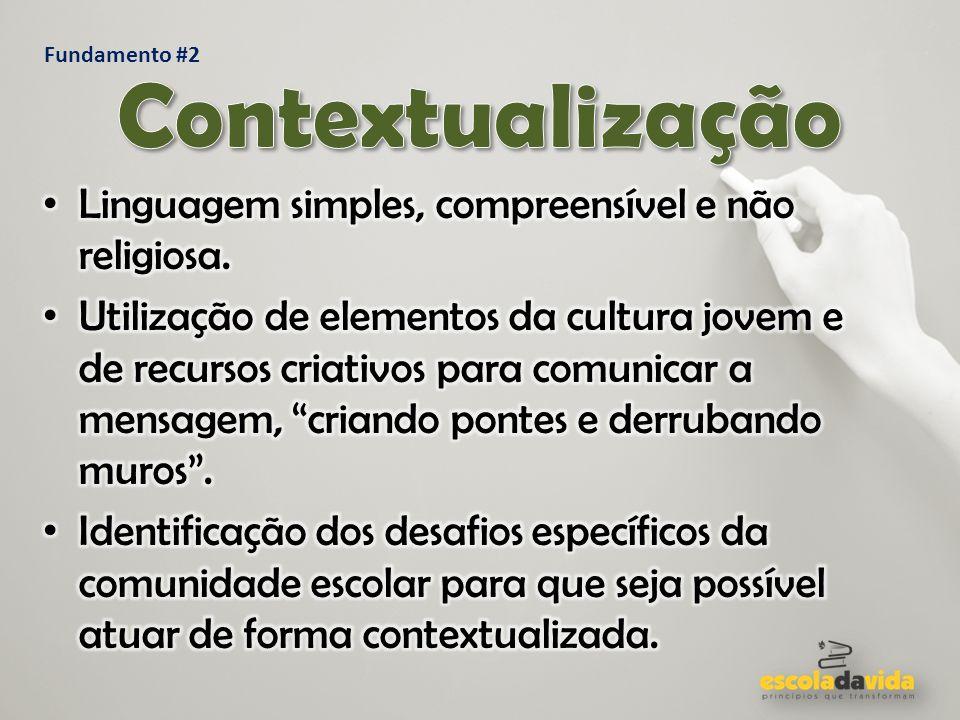 Contextualização Linguagem simples, compreensível e não religiosa.
