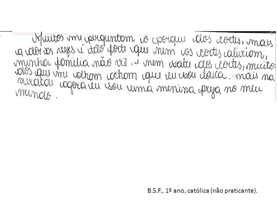 B.S.F., 1º ano, católica (não praticante).