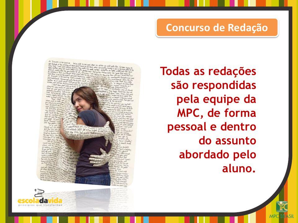 Concurso de Redação Todas as redações são respondidas pela equipe da MPC, de forma pessoal e dentro do assunto abordado pelo aluno.
