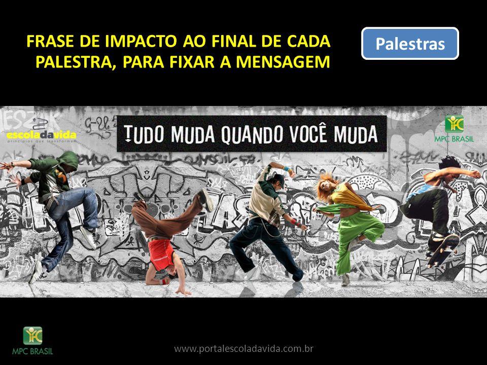 FRASE DE IMPACTO AO FINAL DE CADA PALESTRA, PARA FIXAR A MENSAGEM