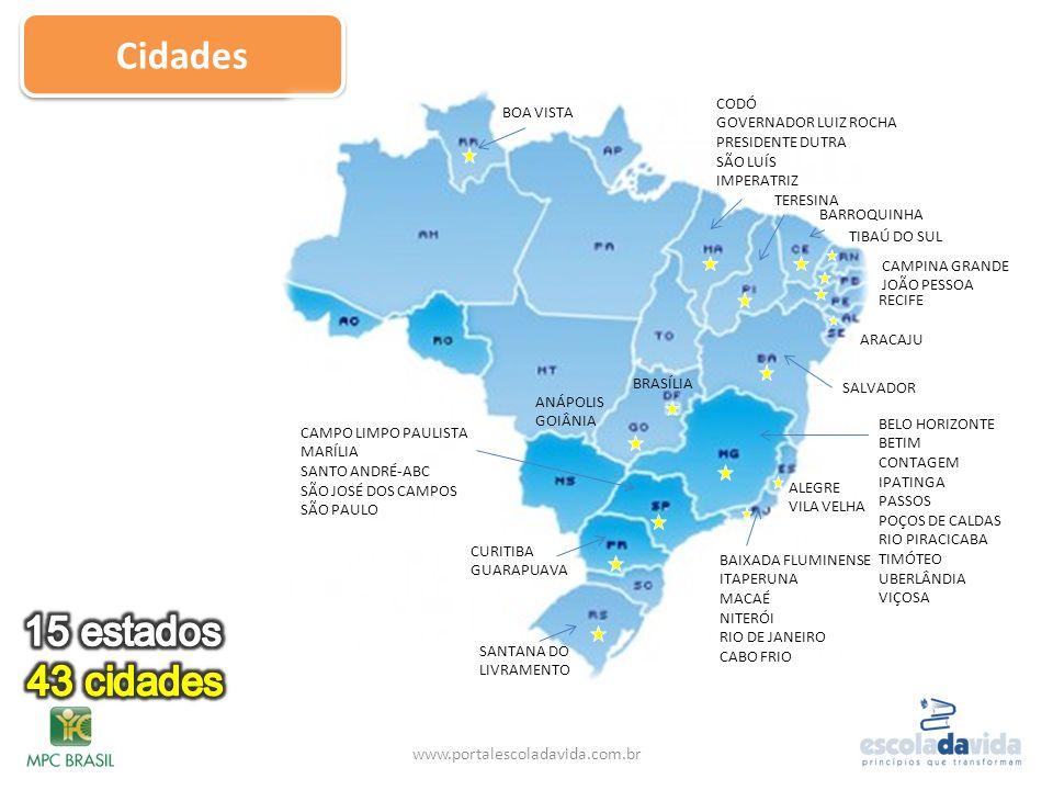 Cidades 15 estados 43 cidades www.portalescoladavida.com.br CODÓ